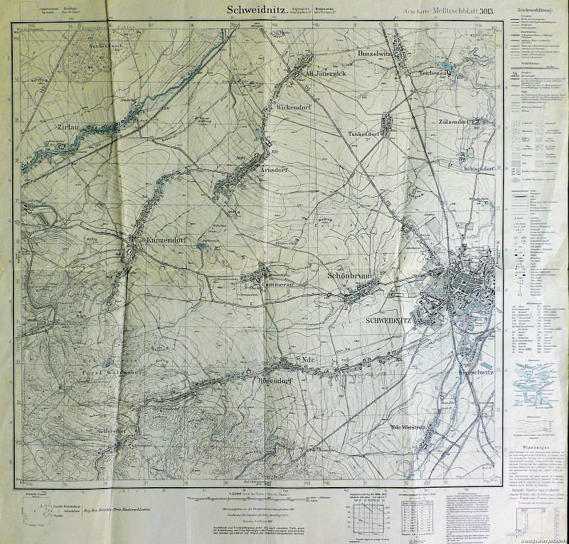 Mapa z XIX wieku. Świdnica i okolice.