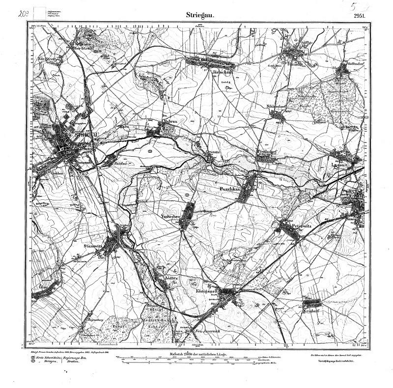 Mapa z XIX wieku. Strzegom i okolice.